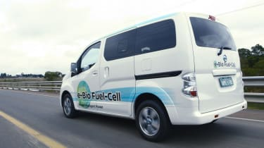 Nissan e-Bio Fuel Cell prototype vehicle rear tracking