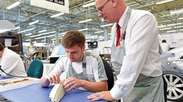 Master Trainer Colin Jackson has been working at Bentley for over 40 years, and now passes his skills onto a new generation of craftsmen, like apprentice Ryan Whally.