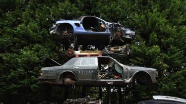 Porsche pile of scrap cars