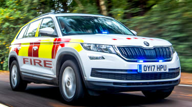 Skoda Kodiaq fire car - front tracking