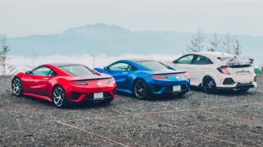 Honda Civic Type R and NSXs Fuji