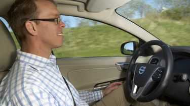 Self-driving Volvo in car