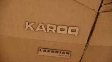 Cardboard Skoda Karoq boot badge