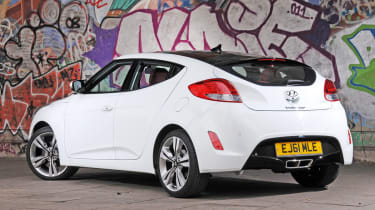 The Veloster is offered with a 1.6-litre direct injection engine with 138bhp and a top speed of 125mph, which aren't that great. A turbo option is offered with more power and quicker 0-62mph time.