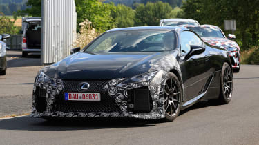 New Lexus LC F coupe spy shots - front
