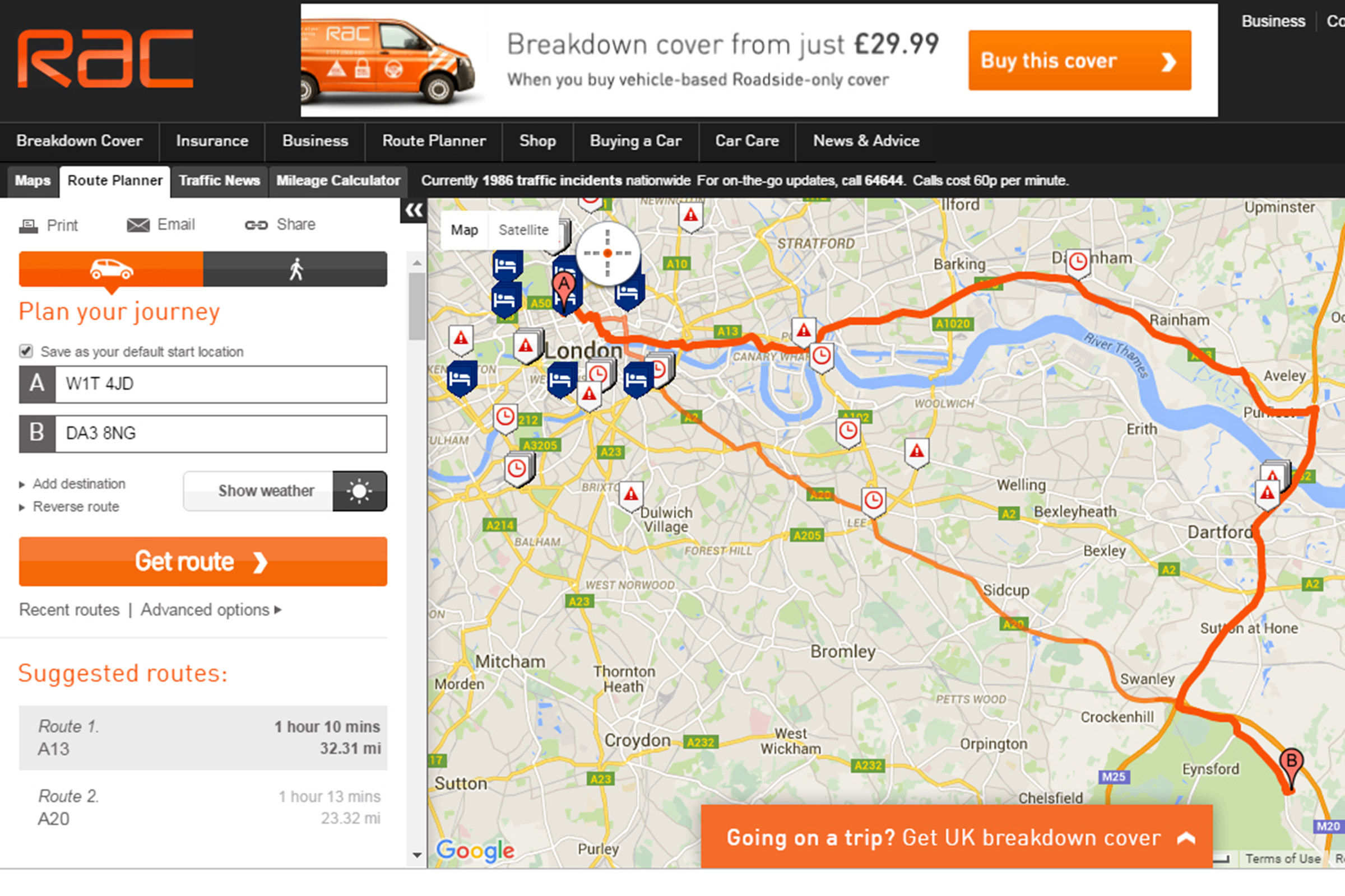 RAC Route Planner  Auto Express