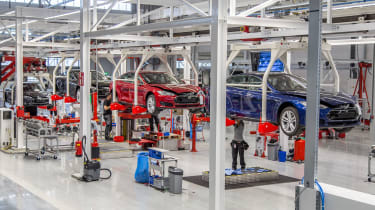 """<p class=""""p1""""><span class=""""s1"""">The Tesla factory in California has capacity for 500,000 vehicles a year, and there's now a Dutch assembly plant too (pictured).</span></p>"""