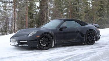 Porsche 911 cabriolet spy shot front quarter