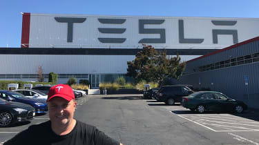 Tesla Factory Tour - steve outside factory