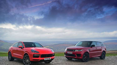 Porsche Cayenne Coupe vs Range Rover HST - twin test