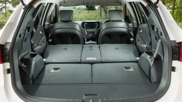<span>There's 585-litres of boot space in the Santa Fe with the seats in place, and with them folded, this extends to 1,680-litres.</span>