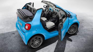 Smart ForTwo Cabrio Brabus rear 3/4 roof open