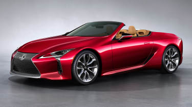 Lexus LC Convertible - front red roof down