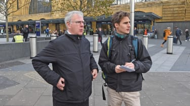Rodger and our man on the look-out for driving instructions at King's Cross St. Pancras