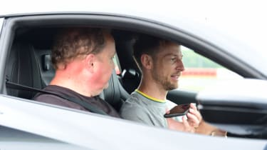 Lotus Emira - Jenson Button and Steve Fowler in car