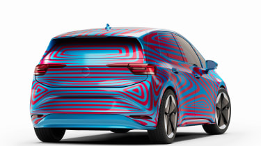 Volkswagen ID.3 camouflaged - rear 3/4 static