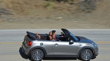 MINI Cooper S Convertible 2016 review - side tracking 3