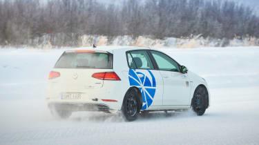 Snow driving rear