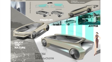 """<span id=""""docs-internal-guid-9b2c6513-7fff-662b-1064-fb8fe33d5330""""><span>Zhiqin He – Zhiqin's proposal used a moveable, independent passenger cell to suit city or motorway use with a two-colour design to separate the elements.</span></"""