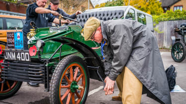 London to Brighton Veteran Car Run  -  crank starting Vauxhall