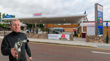 Steve Sutcliffe outside petrol station