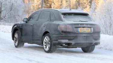 Bentley Bentayga - spies - rear 3/4 tracking