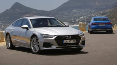 Audi A7 silver and blue