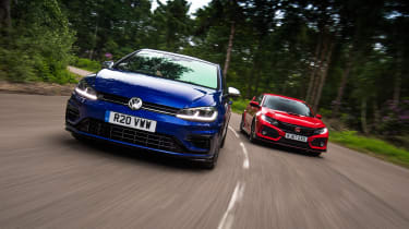 Volkswagen Golf R vs Honda Civic Type R - header