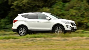 Four-wheel-drive is standard on all models of the Santa Fe, with the option of a manual or automatic gearbox.
