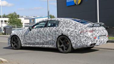 Mercedes AMG GT four-door spy shot rear quarter