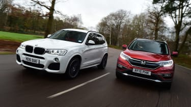 Used BMW X3 vs New Honda CR-V - front driving