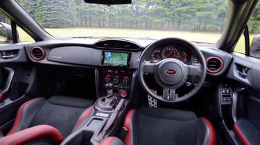 The cabin boasts bespoke two-tone red and black Recaro seats along with red stitching and special gauges.
