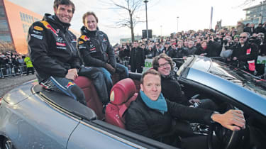Red Bull Racing victory parade with Mark Webber and Christian Horner