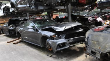 Crashed Ford Mustang