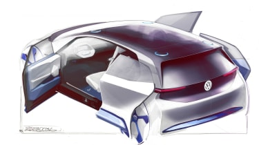 VW electric car Paris concept sketch doors