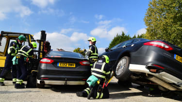 Fire crew road accident preparations exercise