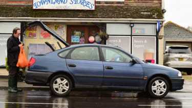 Used Toyota Avensis outside shops
