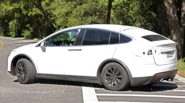 Tesla Model X spyshots side rear