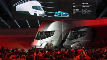 Tesla lorry - electric truck revealed - Elon Musk stage