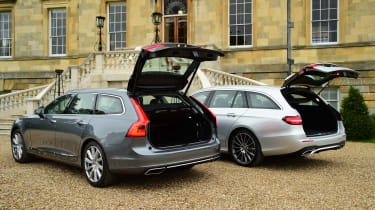 Mercedes E-Class Estate vs Volvo V90 - boots open