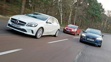 Mercedes A 200 vs Audi A3 vs Volkswagen Golf