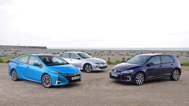 Toyota Prius Plug-in vs Kia Optima PHEV vs Volkswagen Golf GTE - group test
