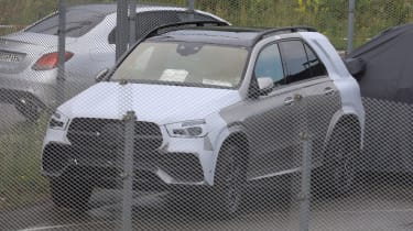 Mercedes GLE spied parked fence