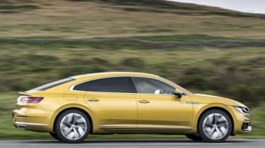 Volkswagen Arteon review - gold action side profile