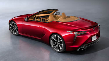 Lexus LC Convertible - red roof down above
