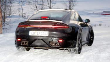 Porsche 911 spy shot rear quarter