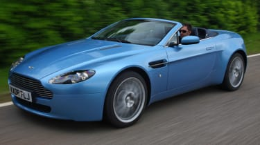 Aston Martin V8 Vantage roadster convertible front tracking