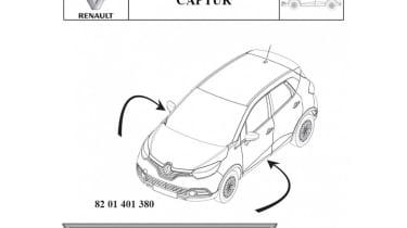 Renault Captur patent drawings side logo