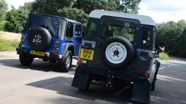 Land Rover Defender vs Jeep Wrangler - modern classics rear head-to-head