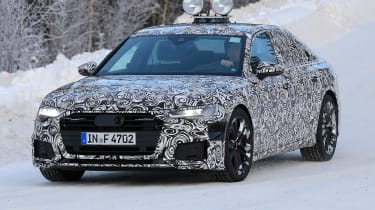 2018 Audi A6 spy shot front quarter